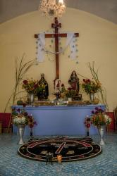Day of the Dead altar in the chapel in the cemetery in Teotitlán del Valle