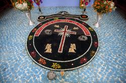 Day of the Dead sand painting in the chapel at the cemetery in Teotitlán del Valle.