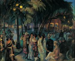 Music in the Plaza (Plaza, Evening, Santa Fe), 1920