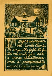 Harold West Christmas card, 1940