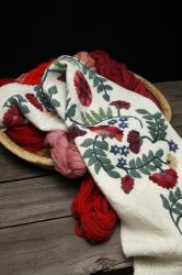 Altar cloth and cochineal dyed wool yarn