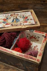 Sewing box and cover with cochineal dyed wool yarn (detail)