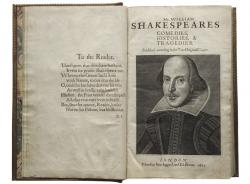 Title page with Droeshout engraving of Shakespeare.