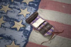 Civil War flag and sewing kit