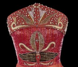 Orlando Dugi, evening gown (from the Red Collection), Detail of bodice