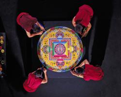 Drepung Loseling Monks Over Mandala