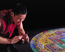 Tibetan Monk Making a Mandala