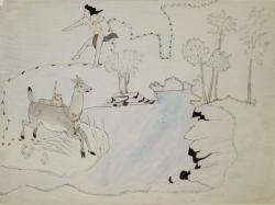 Untitled (Deer, man and stream) by Silver Horn
