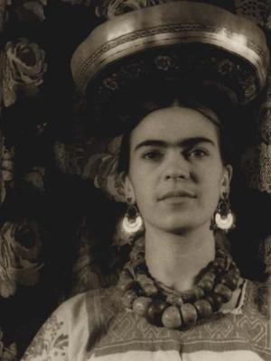 Frida with Michoacan Gourd On Head