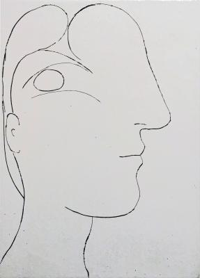 Pablo Picasso, Profil sculptural de Marie-Thérèse, 1933, etching, 12 ½ × 9 in., 020369, courtesy of LewAllen Galleries.