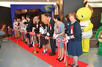 "Ribbon cutting ceremony (with New Mexico Museum of Natural History and Science, Executive Director, Margie Marino) at the opening of the ""A Great Journey of Dinosaurs"" exhibit at the Fukui Prefectural Dinosaur Museum, Fukui, Japan, July 7, 2016."