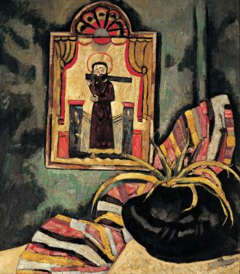 Marsden Hartley, El Santo, 1919, oil on canvas, 36 � 32 in. Collection of the New Mexico Museum of Art.  Anonymous gift from a friend of Southwest art, 1919 (523.23P). Photograph by Blair Clark.