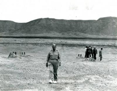 General Leslie Groves walks across the Trinity Site in September 1945, 45 days after the first nuclear bomb was tested there. Courtesy: Historical AP News Features Photo