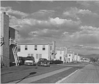 File name:  Dormitories at Los Alamos Scientific Laboratory, Los Alamos, New Mexico  People/Object shown in image: Negative Number  056389                Brief description:  Dormitories at Los Alamos Scientific Laboratory, Los Alamos, New Mexico  Photogr