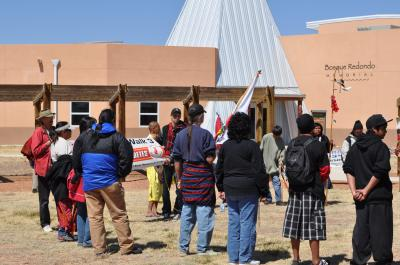 Participants in The Longest Walk 3 (2011) pray over the Bosque Redondo Memorial for the health of Navajo and Mescalero Apache to increase awareness of Type II diabetes, a post-contact disease. Courtesy: NM Historic Sites