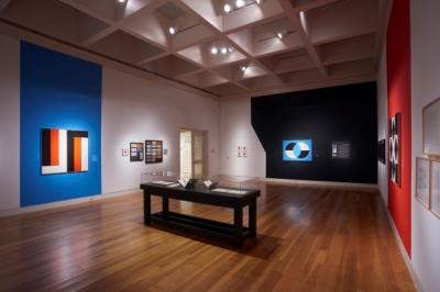 "Installation view of ""Frederick Hammersley: To Paint without Thinking"" at The Huntington Library, Art Collections, and Botanical Gardens"