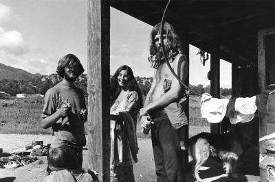 Scene on porch, Ranchos de Taos, 1967-1971, Irwin Klein, Photo Archives HP.2013.26.09