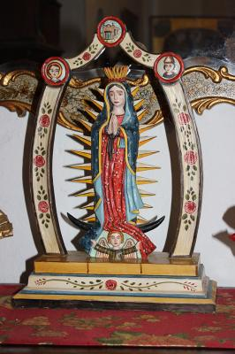 Virgin of Guadalupe wood carving, part of the art collection at the Mesilla home of J. Paul Taylor