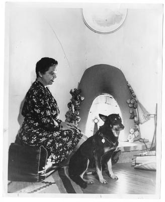 Elizabeth Garrett and her seeing-eye dog. Date unknown.  Photo Archives 057207