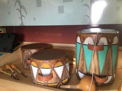 Drum display inside Wonder on Wheels Mobile Museum's Museum of Indian Arts and Culture Exhibit 2018