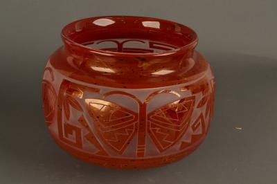 Glass bowl by Tammy Garcia (Santa Clara) and Preston Singletary, (Tlingit).