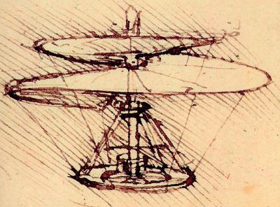 VITE AEREA drawing by Leonardo da Vinci. Courtesy Grande Exhibitions