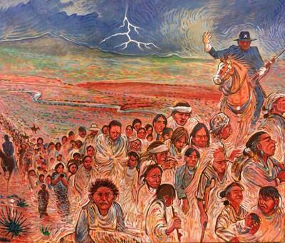 The Long Walk I, Painting by Shonto Begay,  with permission from the artist