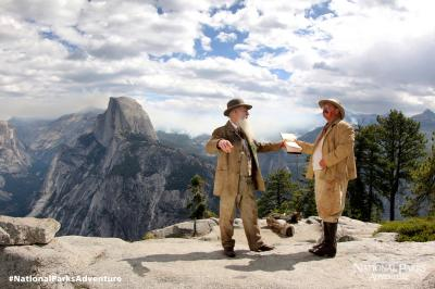 John Muir and President Theodore Roosevelt in Yosemite Reenactment of John Muir and President Teddy Roosevelt�s camping trip in Yosemite Valley to discuss the future of a National Park system. Courtesy of MacGillivray Freeman Films. Photographer: Barbara