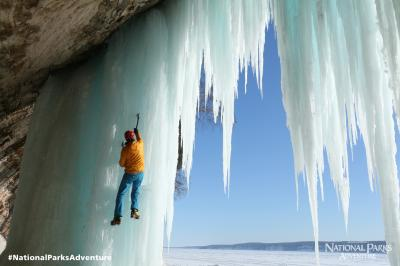 Ice Climbing in Pictured Rocks National Lakeshore Conrad Anker climbs frozen waterfalls in Pictured Rocks National Lakeshore in Michigan. Courtesy of MacGillivray Freeman Films. Photographer: Barbara MacGillivray �VisitTheUSA.com