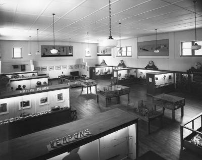 Hall of Ethnology exhibit space, 1942. Opened in 1941, the Hall of Ethnology occupied the Old Armory Building on Washington Avenue until the late 1970s. This long-term exhibition space adjacent to the Palace of the Governors has nearly faded from public m