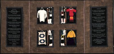 Image(s): Susan Hudson,  (Missing and Murdered Indigenous Women since 1492), 2017, Cotton, cotton batting, cotton thread, leather, beads, buttons, yarn, 37 x 78 inches. Photo: Courtesy NM Department of Cultural Affairs.