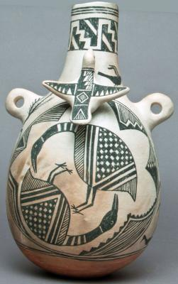 "11-LOA-2018 Black-on-white ceramic jar by Michael Kanteena (Laguna) that will be on display as part of the exhibit ""Birds: Spiritual Messengers of the Skies"". Photo Courtesy of Museum of Indian Arts & Culture"