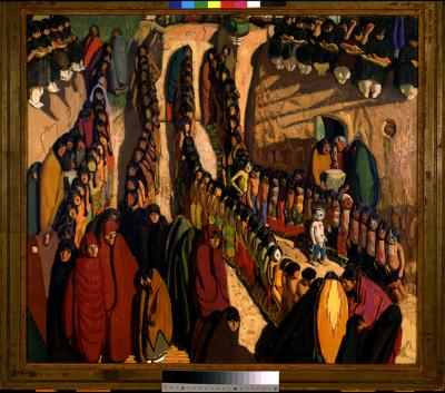 Ernest L. Blumenschein, Dance at Taos, 1923, oil on canvas,. Collection of the New Mexico Museum of Art. Gift of Florence Dibbell Bartlett, 1947 (97.23P) Photo by Blair Clark