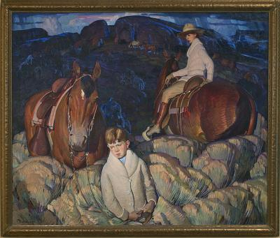 W. Herbert Dunton, My Children, 1920, oil on canvas, 50 × 60 in. Collection of the New Mexico Museum of Art. Gift of a friend, 1927 (351.23P) Photo by Blair Clark