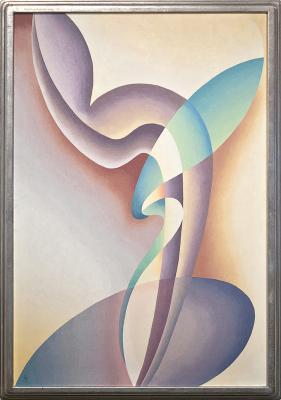 Stuart Walker, Composition No. 57, 1939, oil on canvas. Collection of the New Mexico Museum of Art. Museum purchase with additional support from Frederick Hammersley and Robert Nurock, 2009 (2009.3) Photo by Blair Clark
