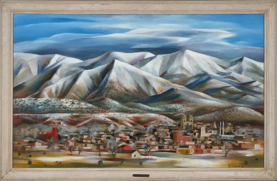 Paul Lantz, Snow in Santa Fe, circa 1935, oil on Masonite, 30 x 48 in. On long term loan to the New Mexico Museum of Art from the Fine Arts Program, Public Buildings Service, U.S. General Services Administration (2834.23P) Photo by Blair Clark