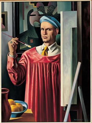 Emil Bisttram, Self-Portrait, 1935, oil on canvas, 43 7/16 × 32 1/4 in. Collection of the New Mexico Museum of Art. Gift of Mrs. Emil Bisttram, 1978 (4035.23P) Photo by Blair Clark