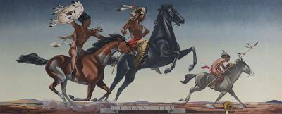 "COMANCHES, mural, 1942. Oil on canvas, 5' X 13'17"". Post Office, Seymour, Texas"