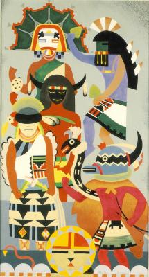 Kachinas from Palulukonti, color sketch for an overmantel, 1927. Casein tempera, 18 X 10. Collection of Mr. and Mrs. James D. Lea, Houston.