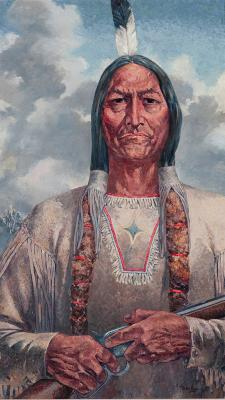 Sitting Bull, 1989. Oil on canvas, 62 x 27. Collection of the Harry Ransom Humanities Research Center, University of Texas at Austin.