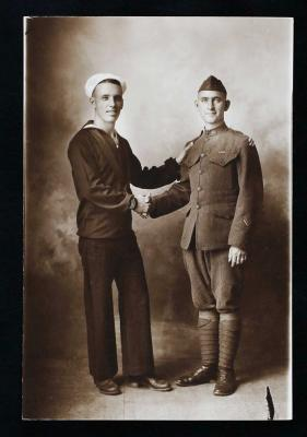 Paris and Oren Crockett, ca. 1919, Seaman Paris Crockett of Roswell joined the Navy and patrolled the Mexican Coast on the gunboat USS Vicksburg. His older brother, Private Oren Crockett was a runner for Company C, 8th Machine Gun Battalion, and was award