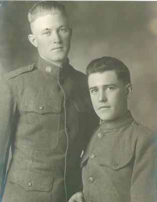 John Brockman (right) and a friend, ca. 1917, Camp Funston, KS, John Brockman (right), whose letters are highlighted in the exhibition, lived on a farm where his family grew corn, wheat and beans, when he was drafted as a private. He grew up in the small