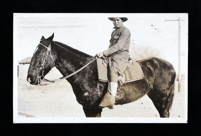 Cornelius M. Cruz, ca. 1919 - Private Cornelius Cruz of Ohkay Owingeh (San Juan Indian Pueblo), a musician and a carpenter, was in the 5th Cavalry, troop E. In his service report Cruz wrote that his ancestors had been experienced warriors, fighting the Na