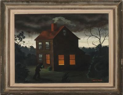 Angelo Di Benedetto, Shelter, n.d., oil on canvas, 19 x 24 in. Collection of the New Mexico Museum of Art. Gift of Mr. and Mrs. Charles Kober, 1947 (43.23P) Photo by Cameron Gay © Angelo Di Benedetto