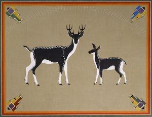 "Two Deer"" by Awa Tsireh (Alfonso Roybal), San Ildefonso Pueblo, 1932 or 1933, oil on canvas, 65 3/4 × 85 1/4 × 1 3/4 in., catalog number SAR.1978-1-216"