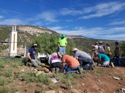 Volunteers excavate at Jemez Historic Site. Photo courtesy of New Mexico Historic Sites.