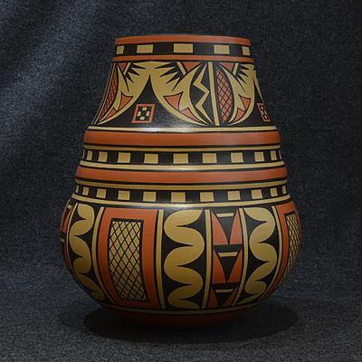 Mustard and Rust Colored Pot