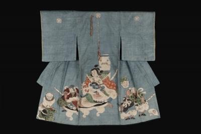 Boy's Miyamairi Ceremonial Kimono with Depictions of Momotaro and Defeated Demons