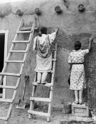 19-NMHM-We are the Rosies -Women plastering adobe home, Jemez Pueblo, New Mexico,