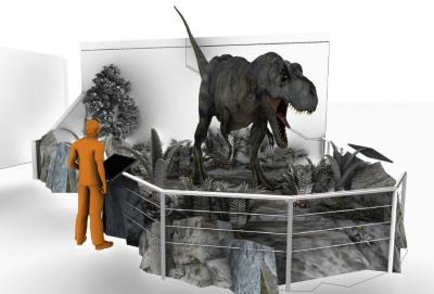30-NMMNHS-Perspective rendering Dynamic Bisti Beast in New Mexico Museum of Natural History & Science atrium, 2019.